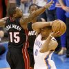 Oklahoma City\'s Russell Westbrook (0) passes around Miami\'s Mario Chalmers (15) during Game 2 of the NBA Finals between the Oklahoma City Thunder and the Miami Heat at Chesapeake Energy Arena in Oklahoma City, Thursday, June 14, 2012. Photo by Nate Billings, The Oklahoman