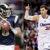Former Putnam City North and OU star Sam Bradford, left, now quarterbacks the Rams. Former Oklahoma Christian School and OU basketball standout Blake Griffin, right, now stars with the Los Angeles Clippers. AP photos