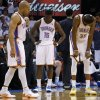 Oklahoma City\'s Derek Fisher (6), Reggie Jackson (15), and Kevin Durant (35) reacts near the end of Game 5 in the second round of the NBA playoffs between the Oklahoma City Thunder and the Memphis Grizzlies at Chesapeake Energy Arena in Oklahoma City, Wednesday, May 15, 2013. Memphis won 88-84. Photo by Bryan Terry, The Oklahoman