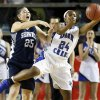 Deer Creek\'s Dakota Vann (24) grabs the ball in front of Shawnee\'s Micaela Yu (25) during the Class 5A girls championship high school basketball game in the state tournament at the Mabee Center in Tulsa, Okla., Saturday, March 9, 2013. Photo by Nate Billings, The Oklahoman