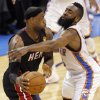 Oklahoma City\'s James Harden (13) defends on Miami\'s LeBron James (6) during Game 2 of the NBA Finals between the Oklahoma City Thunder and the Miami Heat at Chesapeake Energy Arena in Oklahoma City, Thursday, June 14, 2012. Photo by Chris Landsberger, The Oklahoman