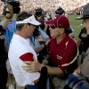 OU coach Bob Stoops and Florida State coach Jimbo Fisher meet after the second half of the college football game between the University of Oklahoma Sooners (OU) and Florida State University Seminoles (FSU) at the Gaylord Family-Oklahoma Memorial Stadium on Saturday, Sept. 11, 2010, in Norman, Okla. Photo by Bryan Terry, The Oklahoman