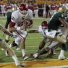 Oklahoma\'s Blake Bell (10) scores during the second half of the college football game in which the University of Oklahoma Sooners (OU) was defeated 45-38 by the Baylor Bears (BU) at Floyd Casey Stadium on Saturday, Nov. 19, 2011, in Waco, Texas. Photo by Steve Sisney, The Oklahoman