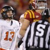 Oklahoma State\'s Quinn Sharp (13) looks up after missing a field goal in the final minutes of a college football game between the Oklahoma State University Cowboys (OSU) and the Iowa State University Cyclones (ISU) at Jack Trice Stadium in Ames, Iowa, Friday, Nov. 18, 2011. Photo by Bryan Terry, The Oklahoman