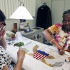In this Tuesday, June 12 photo, Nereida Rivera, left and Christine Upchurch, both of Philadelphia, hand embroider a vice presidential flag at the Defense Logistics Agency in Philadelphia. The vice presidential flag takes the two fabric workers 35 days to complete. About 10 miles from the house where Betsy Ross is believed to have sewn the first U.S. flag, Upchruch and Rivera are two of about a dozen seamstresses at a military supply operation who are the sole producers of the hand-stitched vice presidential banners. (AP Photo/Brynn Anderson)