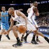 Oklahoma City\'s Russell Westbrook drives past teammate Jeff Green as Chris Paul and Peja Stojakovic of New Orleans watch during NBA basketball game between the Oklahoma City Thunder and the New Orleans Hornets at the Ford Center in Oklahoma City on Friday, Nov. 21, 2008. BY BRYAN TERRY, THE OKLAHOMAN