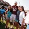 Tight end Blake Bell poses for photographs during the University of Oklahoma Sooners (OU) practice and Student Day at Gaylord Family-Oklahoma Memorial Stadium in Norman, Okla., on Thursday, Aug. 21, 2014. Photo by Steve Sisney, The Oklahoman