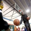 Kevin Durant hands a ball to Imani Jackson during shooting drills at the Nike Clinic at the Salvation Army Boy and Girls Club, Saturday, Feb. 7, 2009, in Oklahoma City. PHOTO BY SARAH PHIPPS, THE OKLAHOMAN