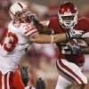 Oklahoma\'s Chris Brown (29) stiff arms Nebraska\'s Matt O\'Hanlon (33) during the first half of the college football game between the University of Oklahoma Sooners (OU) and the University of Nebraska Huskers (NU) at the Gaylord Family-Oklahoma Memorial Stadium, on Saturday, Nov. 1, 2008, in Norman, Okla. BY NATE BILLINGS, THE OKLAHOMAN