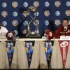Texas A&M head coach Kevin Sumlin, left, and Oklahoma head coach Bob Stoops share a laugh during a news conference leading up to the Cotton Bowl NCAA college football game Wednesday, Jan. 2, 2013, in Irving, Texas. Before Sumlin became a successful head coach, he was on Stoops\' staff at Oklahoma. Before that, they were both assistant coaches recruiting the same area. Now Sumlin takes his Texas A&M team against Stoops\' Sooners in a Jan. 4th Cotton Bowl matchup of former Big 12 rivals that are both 10-2. (AP Photo/LM Otero) ORG XMIT: TXMO104