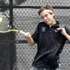 Edmond Santa Fe\'s Ian Sioux competes in the 6A doubles final against Edmond North during the boys Oklahoma High School Tennis Tournament at the Oklahoma City Tennis Center in Oklahoma City, OK, Monday, May 14, 2012, By Paul Hellstern, The Oklahoman