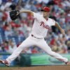 Philadelphia Phillies\' Cole Hamels pitches in the first inning of a baseball game against the New York Mets, Friday, June 21, 2013, in Philadelphia. (AP Photo/Matt Slocum)