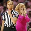 Sherri Coale reacts to a call by the officials during the women\'s college basketball game between the University of Oklahoma Sooners (OU) and the University of Texas Longhorns (UT) at the Lloyd Noble Center in Norman, Okla. on Wednesday, Feb. 19, 2014.. Photo by Chris Landsberger, The Oklahoman