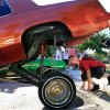 Tony Suttle gets low to the ground to look at the suspension of this custom 1985 Cutlass Supreme on display at the park. It was shown by a member of the Viejitos Car Club. The car\'s owner said when the lifts are fully extended, the car rises 85 inches above the ground. Residents of the Riverpark Neighborhood gathered at Tulsa Park near SW 24 and Tulsa Saturday afternoon, Sep. 11, 2010, to take part in National Night Out activities. by Jim Beckel, The Oklahoman