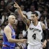 San Antonio Spurs\' Danny Green, right, celebrates a basket in front of New York Knicks\' Jason Kidd during the first half of an NBA basketball game on Thursday, Nov. 15, 2012, in San Antonio. (AP Photo/Darren Abate)