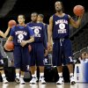 COLLEGE BASKETBALL: Morgan State\'s Jermaine Bolden, left, Ameer Ali, and Reggie Holmes line up during practice before the first round of the men\'s NCAA tournament in Kansas City, Mo., Wednesday, March 18, 2009. University of Oklahoma (OU) will play Morgan State on Thursday, March 19, 2009. PHOTO BY BRYAN TERRY, THE OKLAHOMAN ORG XMIT: KOD