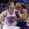 LOS ANGELES LAKERS / NBA BASKETBALL: Oklahoma City\'s Nick Collison battles with Los Angeles\' Metta World Peace during Game 2 in the second round of the NBA playoffs between the Oklahoma City Thunder and the L.A. Lakers at Chesapeake Energy Arena on Wednesday, May 16, 2012, in Oklahoma City, Oklahoma. Photo by Chris Landsberger, The Oklahoman