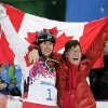 Canada\'s Alex Bilodeau, left, celebrates with his brother Frederic after winning the gold medal in the men\'s moguls final at the Rosa Khutor Extreme Park at the 2014 Winter Olympics, Monday, Feb. 10, 2014, in Krasnaya Polyana, Russia. (AP Photo/Andy Wong)