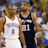 San Antonio\'s Tim Duncan (21) looks to the Spurs\' bench for an answer behind Oklahoma City\'s Russell Westbrook (0) in the second half during Game 4 of the Western Conference Finals between the Oklahoma City Thunder and the San Antonio Spurs in the NBA playoffs at the Chesapeake Energy Arena in Oklahoma City, Saturday, June 2, 2012. Oklahoma City won, 109-103. Photo by Nate Billings, The Oklahoman