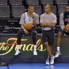 Oklahoma City\'s Russell Westbrook and James Harden talk with head athletic trainer Joe Sharpe during the NBA Finals practice day at the Chesapeake Energy Arena on Monday, June 11, 2012, in Oklahoma City, Okla. Photo by Chris Landsberger, The Oklahoman