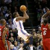 Oklahoma City\'s Kevin Durant puts up a shot that was blocked by Miami\'s LeBron James (right) during their NBA basketball game at the OKC Arena in Oklahoma City on Thursday, Jan. 30, 2011. Photo by John Clanton, The Oklahoman