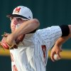 Photo - Maryland pitcher Mike Shawaryn (18) delivers during an NCAA college baseball tournament regional game against South Carolina in Columbia, S.C., Saturday, May 31, 2014. (AP Photo/Stephen B. Morton)