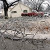 WINTER / COLD / WEATHER / ICE STORM / DAMAGE / AFTERMATH: Downed tree limbs sit in a yard during a winter storm, in Perkins, Okla., Monday, December 10, 2007. By Matt Strasen, The Oklahoman ORG XMIT: KOD