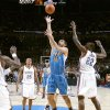 Peja Stojakovic of New Orlean shoots the ball between Oklahoma City\'s Earl Watson and Jeff Green during the NBA basketball game between the Oklahoma City Thunder and the New Orleans Hornets at the Ford Center in Oklahoma City on Friday, Nov. 21, 2008. BY BRYAN TERRY, THE OKLAHOMAN