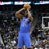 Oklahoma City\'s Kevin Durant (35) shoots the ball during the second half of an NBA basketball game against the New Orleans Hornets in New Orleans, Friday, Nov. 16, 2012. The Thunder won 110-95. (AP Photo/Jonathan Bachman) ORG XMIT: LAJB110