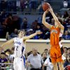 Sterling\'s Reece Seibold shoots over Glencoe\'s Jake Lazenby during the Class A boys semifinal game of the state high school basketball tournament between Glencoe and Sterling at the State Fair Arena., Friday, March 1, 2013. Photo by Sarah Phipps, The Oklahoman