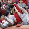 St. Louis Cardinals first baseman Matt Adams falls into the stands while trying to catch a foul ball hit by Cincinnati Reds\' Chris Heisey that was caught by a fan in the third inning of a baseball game on Thursday, April 3, 2014, in Cincinnati. (AP Photo/Al Behrman)