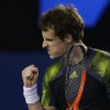 Britain\'s Andy Murray reacts during his semifinal match against Switzerland\'s Roger Federer at the Australian Open tennis championship in Melbourne, Australia, Friday, Jan. 25, 2013. (AP Photo/Dita Alangkara)