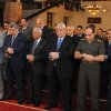 Photo - This image released by the Egyptian Presidency shows interim President Adly Mansour, center, interim Prime Minister Hazem el-Beblawi, fourth from left, and Defense Minister Gen. Abdel-Fattah el-Sissi, second from right, pray on the first day of Eid al-Aha, or Feast of Sacrifice, in Cairo, Egypt, Tuesday, Oct. 15, 2013.