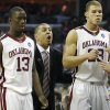 Oklahoma coach Jeff Capel reacts as Willie Warren and Blake Griffin come off the court at the end of the Sooners 84-71 win over Syracuse during the second half of the NCAA Men\'s Basketball Regional at the FedEx Forum on Friday, March 27, 2009, in Memphis, Tenn. PHOTO BY CHRIS LANDSBERGER, THE OKLAHOMAN