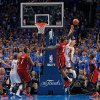 Oklahoma City\'s Nick Collison (4) battles with Miami\'s LeBron James (6) during Game 1 of the NBA Finals between the Oklahoma City Thunder and the Miami Heat at Chesapeake Energy Arena in Oklahoma City, Tuesday, June 12, 2012. Photo by Chris Landsberger, The Oklahoman
