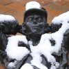 Snow covers a statue on Broadway in Edmond, Wednesday February 20, 2013. Photo By Steve Gooch, The Oklahoman