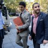 Photo - Charles Shrem, right, the top executive of a New York City-based Bitcoin company, walks from the federal court house in New York Thursday, Sept. 4, 2014, after pleading guilty to federal charges that he helped smooth the way for drug transactions on the online marketplace Silk Road. (AP Photo/Craig Ruttle)