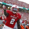 Photo -   North Carolina State's Rashard Smith celebrates his touchdown against South Alabama during the first half of an NCAA college football game in Raleigh, N.C., Saturday, Sept. 15, 2012. (AP Photo/Gerry Broome)