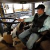 Wheat farmer Zac Harris sits in the cab of a new high tech sprayer worth hundreds of thousands of dollars and will wait for appraisers to examine freeze damage on his crop to know if it will be needed on Friday, April 19, 2013 in Hobart, Okla. Photo by Steve Sisney, The Oklahoman