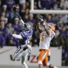 Kansas State\'s Randall Evans (15) breaks up a pass for Oklahoma State\'s Josh Stewart (5) during the college football game between the Oklahoma State University Cowboys (OSU) and the Kansas State University Wildcats (KSU) at Bill Snyder Family Football Stadium on Saturday, Nov. 1, 2012, in Manhattan, Kan. Photo by Chris Landsberger, The Oklahoman