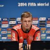 Photo - Germany's Toni Kroos talks to the media during a press conference one day before the World Cup quarterfinal soccer match between Germany and France at the Maracana Stadium in Rio de Janeiro, Brazil, Thursday, July 3, 2014. (AP Photo/Martin Meissner)