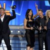 From left, Phillip Sweet, Karen Fairchild, Jimi Westbrook and Kimberly Schlapman, of musical group Little Big Town, accept the award for vocal group of the year at the 48th Annual Academy of Country Music Awards at the MGM Grand Garden Arena in Las Vegas on Sunday, April 7, 2013. (Photo by Chris Pizzello/Invision/AP) ORG XMIT: NVPM268