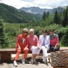 Pam Smith, Jeary Seikel, Linda James and Patty Cohenour were at the Pine Creek Cookhouse for lunch. (Photo by Helen Ford Wallace).