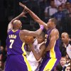 Oklahoma City Thunder forward Kevin Durant is surrounded by Los Angeles Lakers Lamar Odom and Andrew Bynum during the Thunder - Lakers game November 3, 2009 in the Ford Center in Oklahoma City. BY HUGH SCOTT, THE OKLAHOMAN