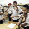 Amy Barron (left), Hannah Geeslin, and Saul Ortiz play violins during a Mariachi class at Fillmore Elementary School in Oklahoma City, OK, Tuesday, Nov. 22, 2011. By Paul Hellstern, The Oklahoman