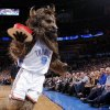 Rumble the Bison carries a cake for Valentine\'s during an NBA game between the Oklahoma City Thunder and the Utah Jazz at Chesapeake Energy Arena in Oklahoma CIty, Tuesday, Feb. 14, 2012. Photo by Bryan Terry, The Oklahoman