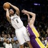 Brooklyn Nets\' Deron Williams shoots while Los Angeles Lakers\' Steve Blake defends during the first half of the NBA basketball game at the Barclays Center Tuesday, Feb. 5, 2013 in New York. (AP Photo/Seth Wenig)