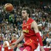Spain\'s Pau Gasol reacts after a dunk during the men\'s gold medal basketball game against USA at the 2012 Summer Olympics, Sunday, Aug. 12, 2012, in London. (AP Photo/Charles Krupa)