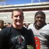 Carl Albert\'s Caleb Holland with OSU\'s Daytawion Lowe, a former Carl Albert standout. PHOTO PROVIDED