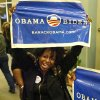 A woman celebrates Obama\'s re-election victory. About 500 jubilant supporters of President Barrack Obama cheered, danced , hugged and sang when it was announced that the president had been re- elected Tuesday night, Nov. 6, 2012. The Democrats held their watch party at the Reed Conference Center in Midwest City. Photo by Jim Beckel, The Oklahoman